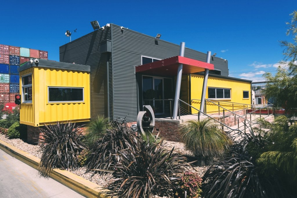 yellow and grey container office in victoria australia