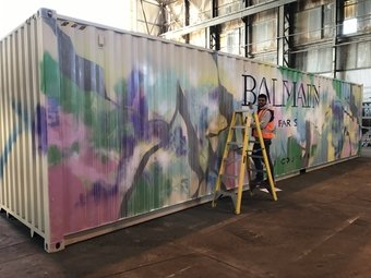 shipping container painted with different colors
