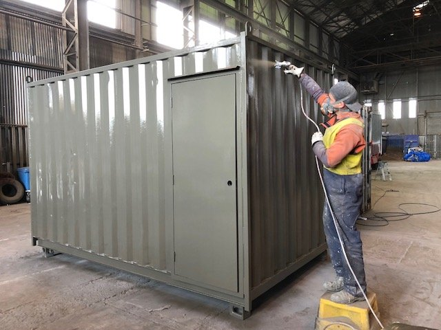 shipping container painted grey